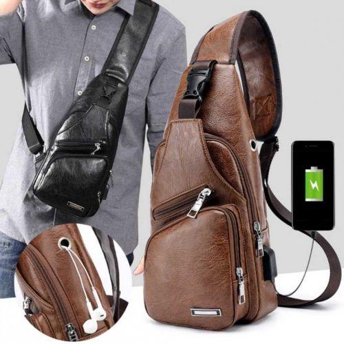 Túi đeo chéo nam da cao cấp manzo, tích hợp cổng sạc usb - tặng cáp nối dây sạc
