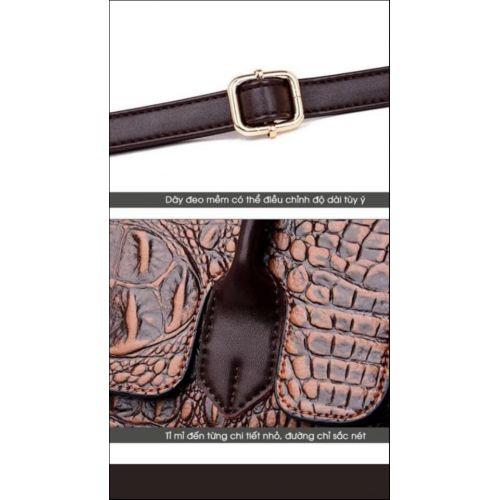 Túi da bò vân cá sấu